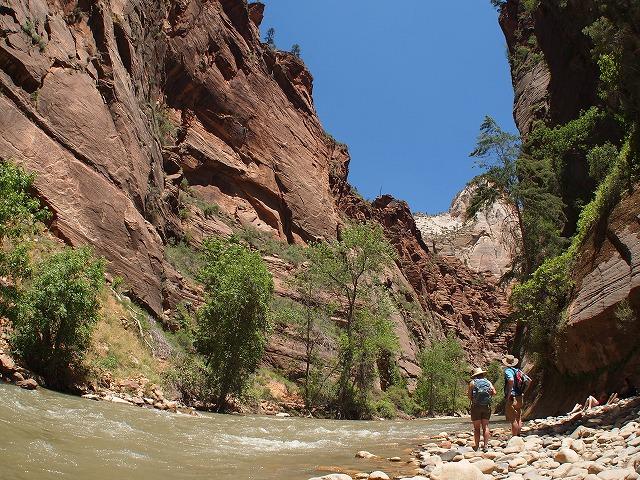 渓谷に流れる小川
