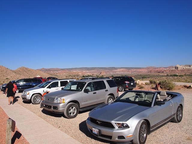 参加者の車の列