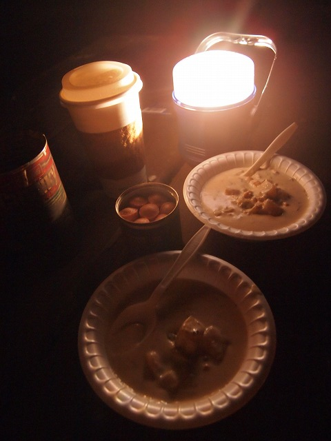 キャンプファイヤーで晩御飯