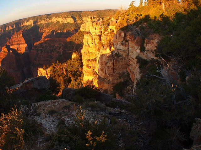 朝日に染まるグランドキャニオンの渓谷